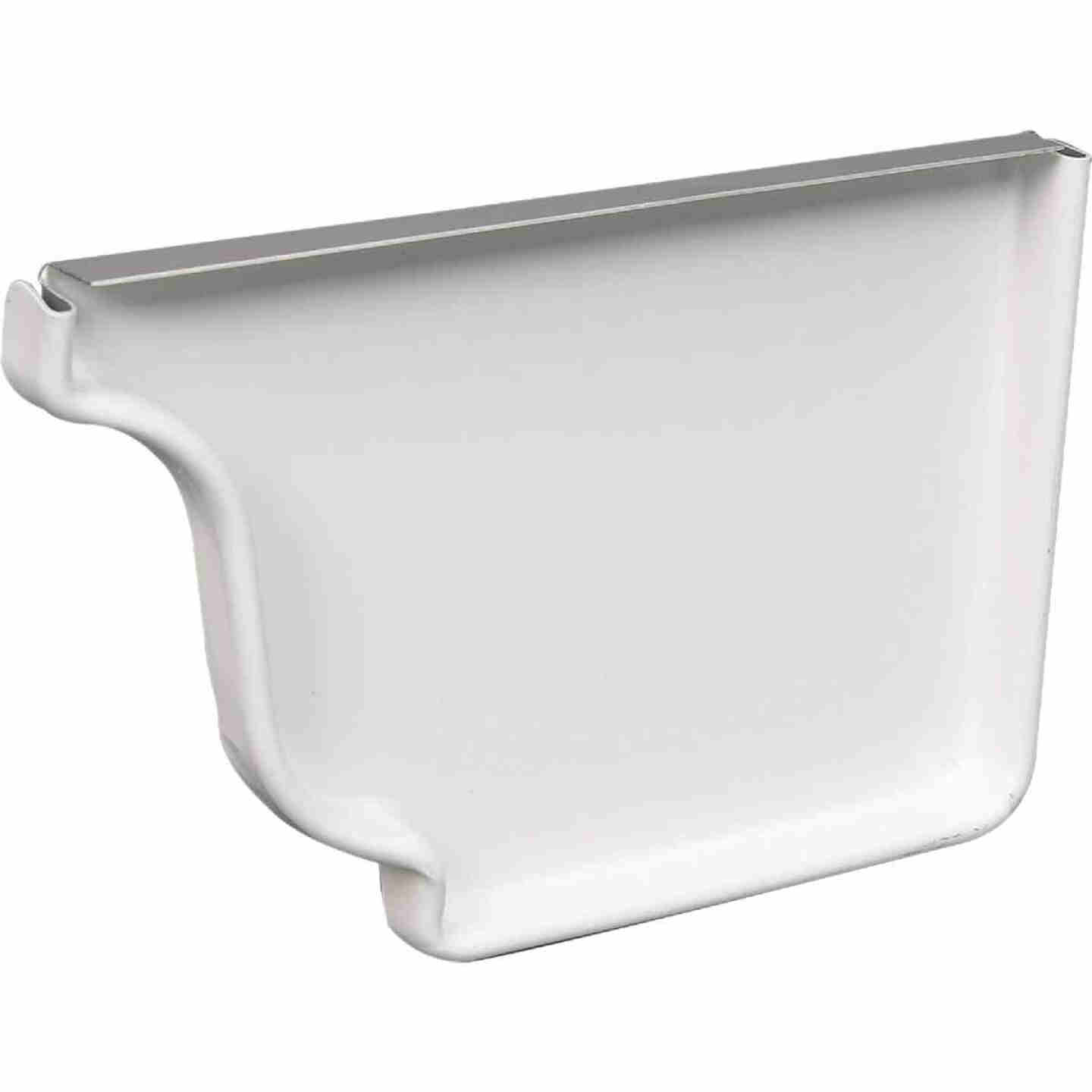 Amerimax 4 In. Galvanized White Right Gutter End Cap Image 1