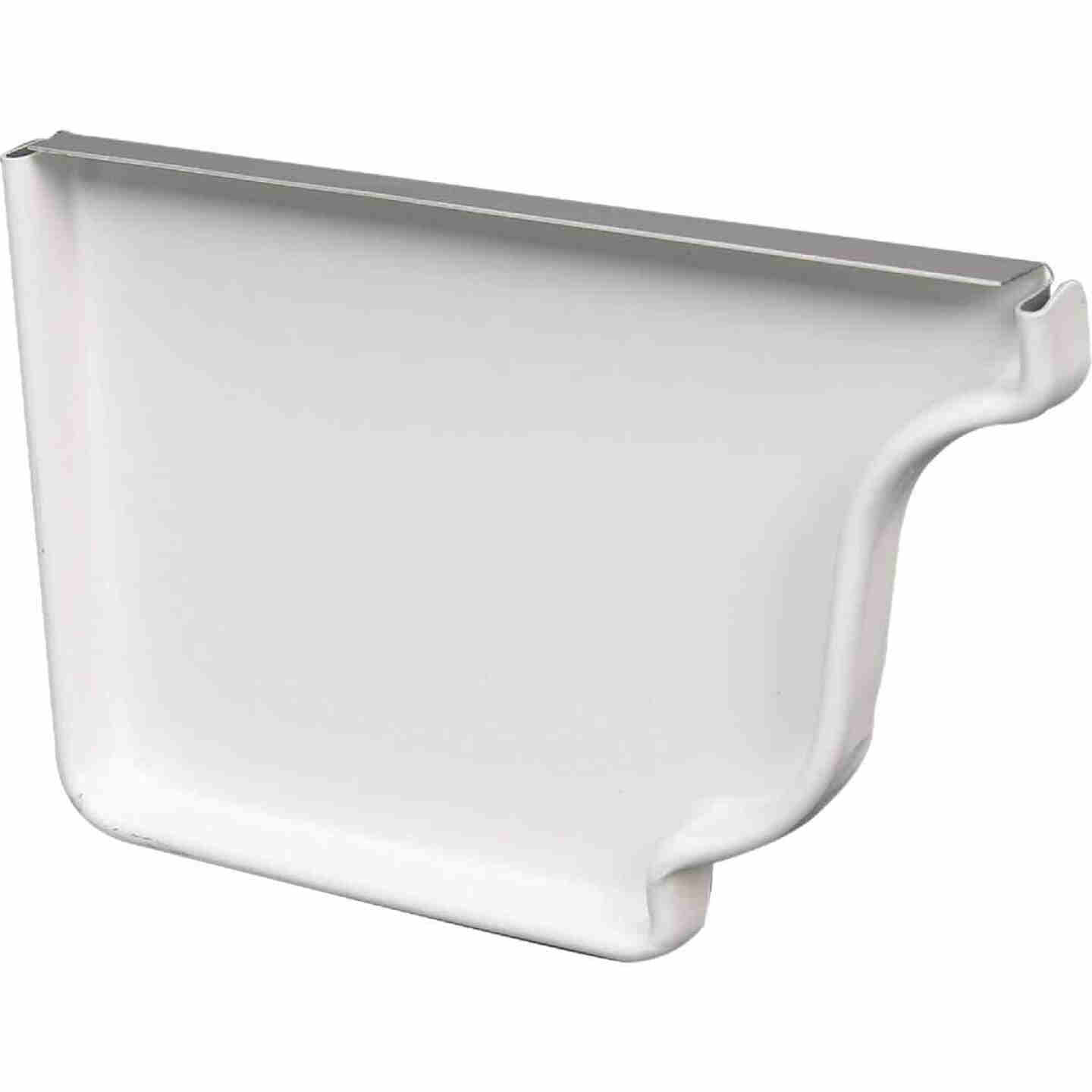 Amerimax 4 In. Galvanized White Right Gutter End Cap Image 2