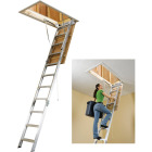 Werner Universal 8 Ft. to 10 Ft. 22-1/2 In. x 54 In. Aluminum Attic Stairs, 375 Lb. Load Image 1