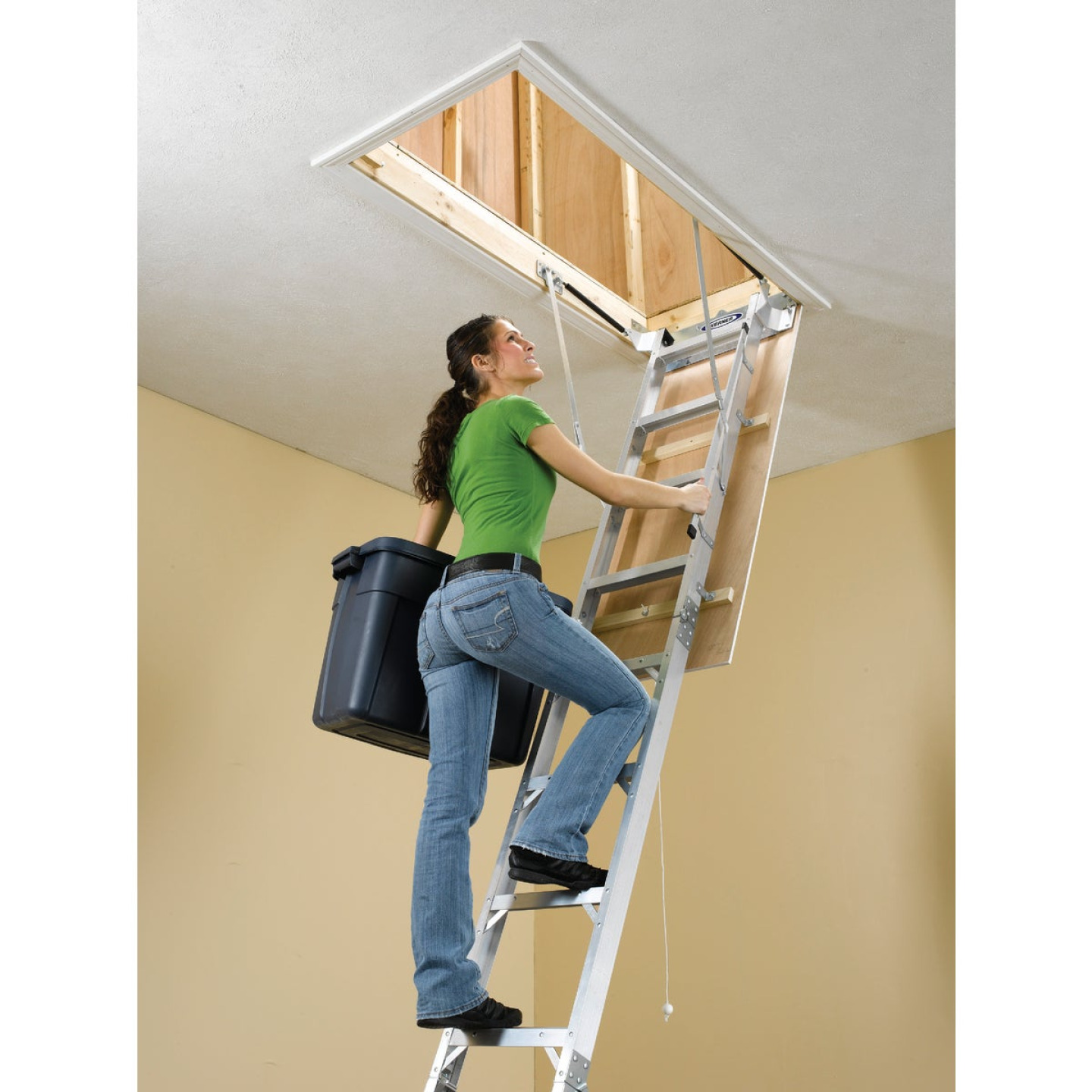 Werner Universal 8 Ft. to 10 Ft. 22-1/2 In. x 54 In. Aluminum Attic Stairs, 375 Lb. Load Image 2
