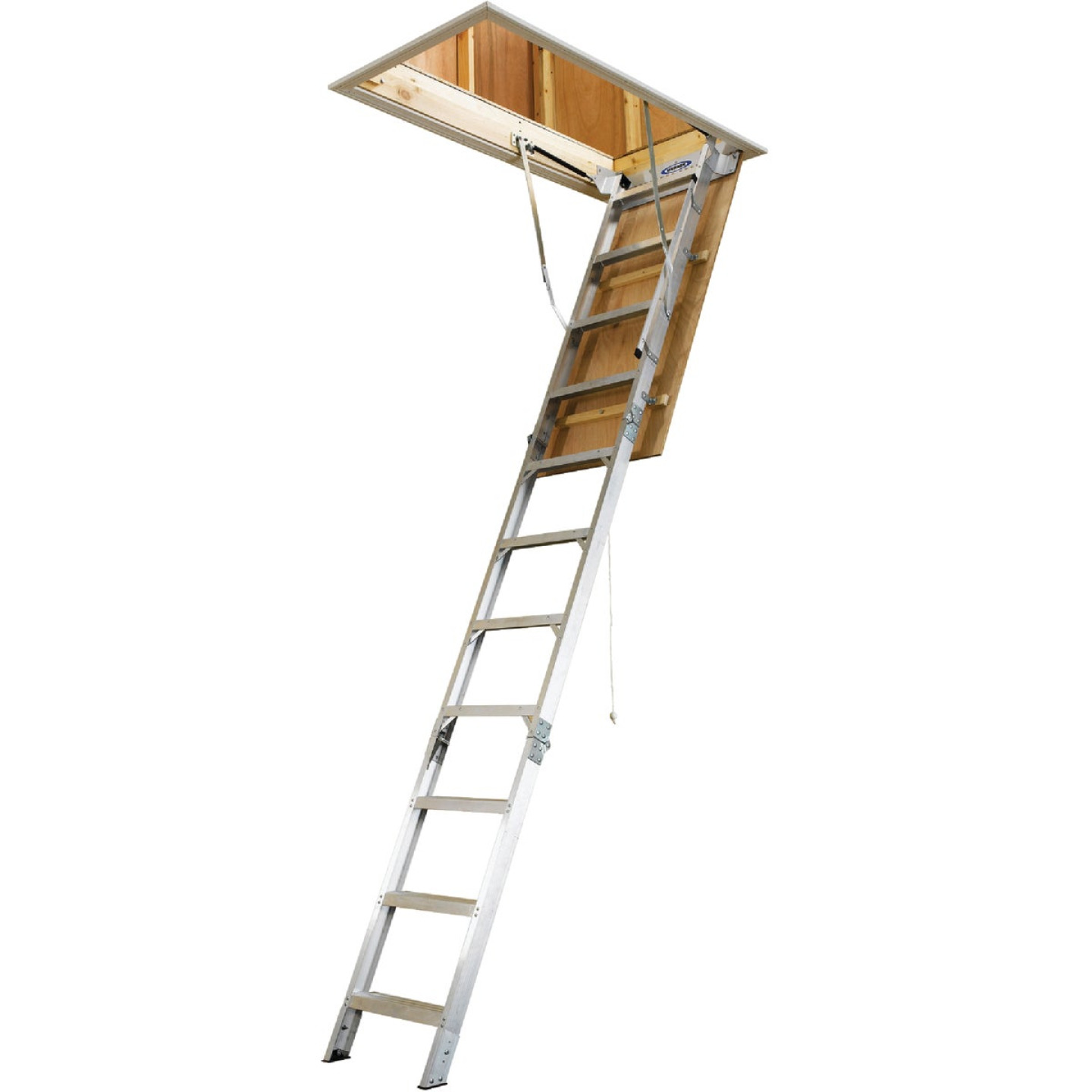 Werner Universal 8 Ft. to 10 Ft. 22-1/2 In. x 54 In. Aluminum Attic Stairs, 375 Lb. Load Image 5