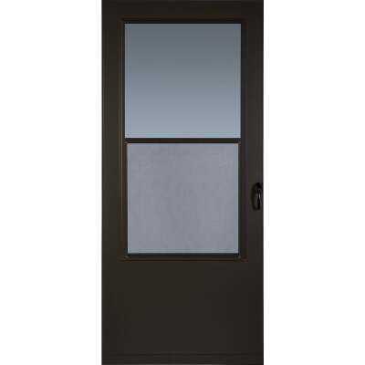 Larson Value-Core 32 In. W x 80 In. H x 1 In. Thick Brown Self-Storing Aluminum Storm Door