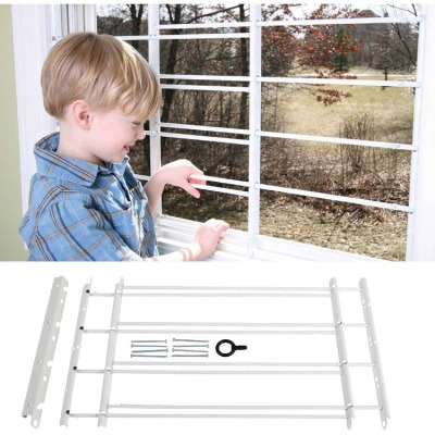 John Sterling Corp Hinged White Enamel 4-Bar Child Safety & Window Security Guard