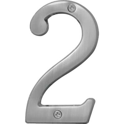 Hy-Ko Prestige Series 4 In. Satin Nickel House Number Two