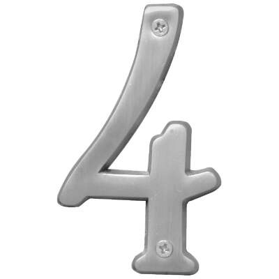 Hy-Ko Prestige Series 4 In. Satin Nickel House Number Four