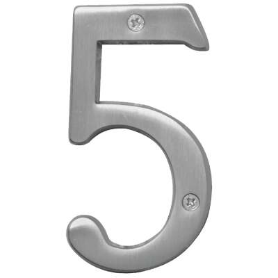 Hy-Ko Prestige Series 4 In. Satin Nickel House Number Five