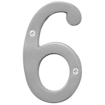 Hy-Ko Prestige Series 4 In. Satin Nickel House Number Six