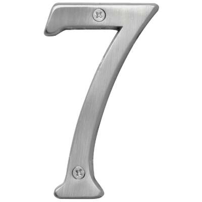 Hy-Ko Prestige Series 4 In. Satin Nickel House Number Seven