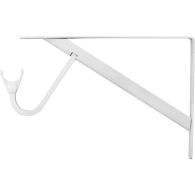 John Sterling Closet-Pro 8 In. H. x 12 In. D. Snap-In Closet Shelf & Rod Bracket, White