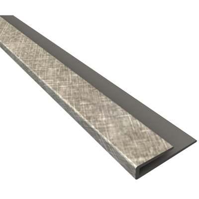 Fasade 18 In. Thermoplastic J-Edge Backsplash Trim, Cross Hatch Silver