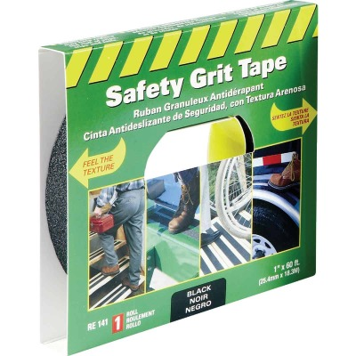 LIFESAFE 1 In.x 60 Ft. Black Anti-Slip Walk Safety Tape