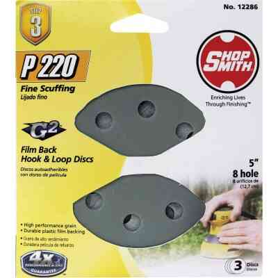 Shop Smith 5 In. 220-Grit 8-Hole Pattern Vented Sanding Disc with Hook & Loop Backing (3-Pack)
