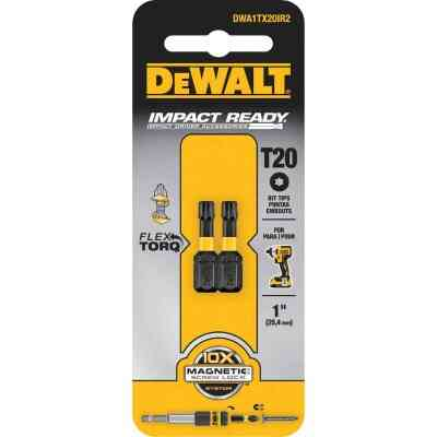 DeWalt FlexTorq 1 In. T20 TORX Insert Impact Screwdriver Bit (2-Pack)