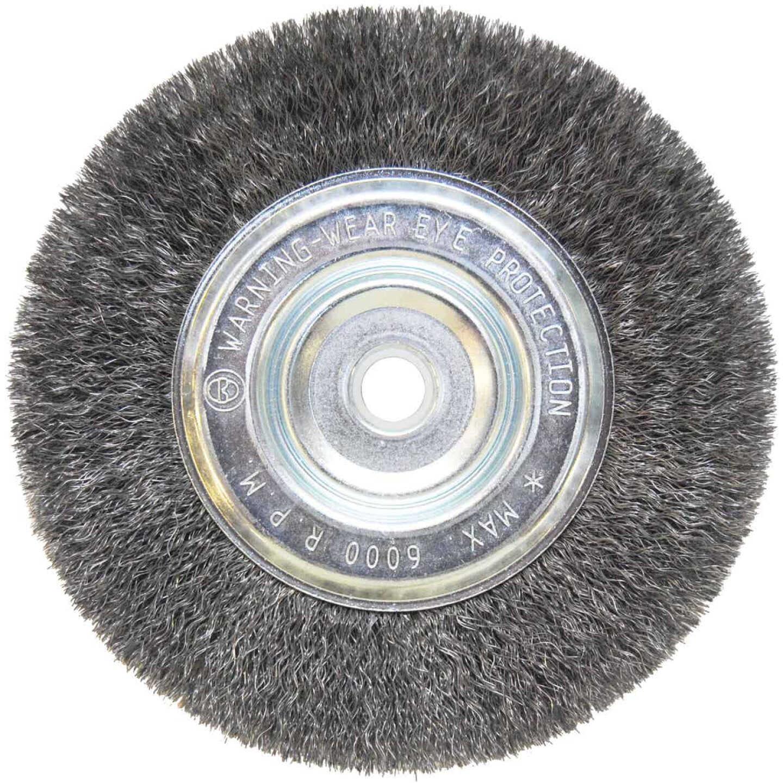 Weiler Vortec 6 In. Crimped, Fine 5/8 Bench Grinder Wire Wheel Image 1