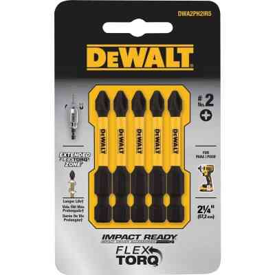 DeWalt FlexTorq 2 In. #2 Phillips Power Impact Screwdriver Bit (5-Pack)