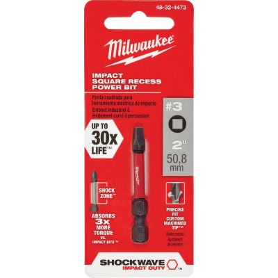 Milwaukee Shockwave #3 Square Recess 2 In. Power Impact Screwdriver Bit