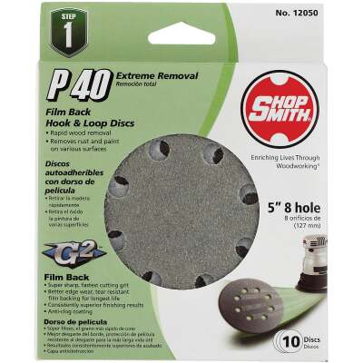 Shop Smith 5 In. 40-Grit 8-Hole Pattern Vented Sanding Disc with Hook & Loop Backing (10-Pack)
