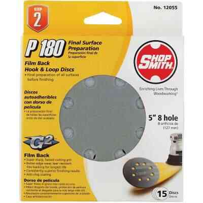 Shop Smith 5 In. 180-Grit 8-Hole Pattern Vented Sanding Disc with Hook & Loop Backing (15-Pack)