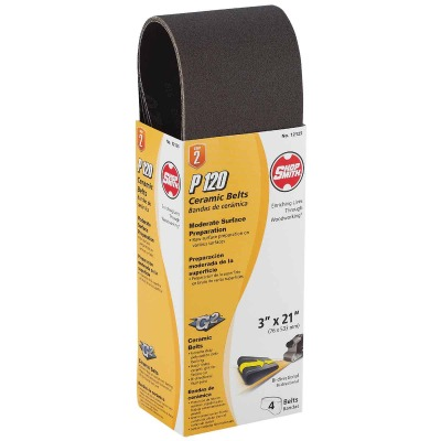 Gator Blade 3 In. x 21 In. 120 Grit Heavy-Duty Sanding Belt (4-Pack)