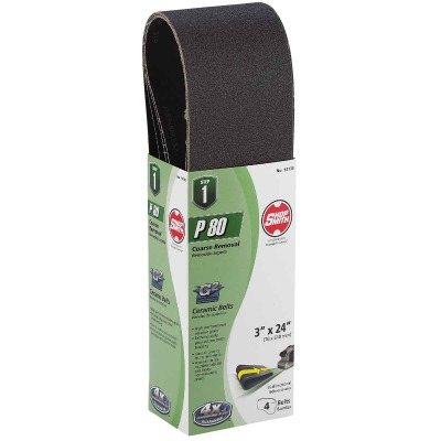 Gator Blade 3 In. x 24 In. 80 Grit Heavy-Duty Sanding Belt (4-Pack)