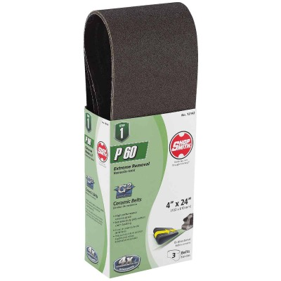Gator Blade 4 In. x 24 In. 60 Grit Heavy-Duty Sanding Belt (3-Pack)