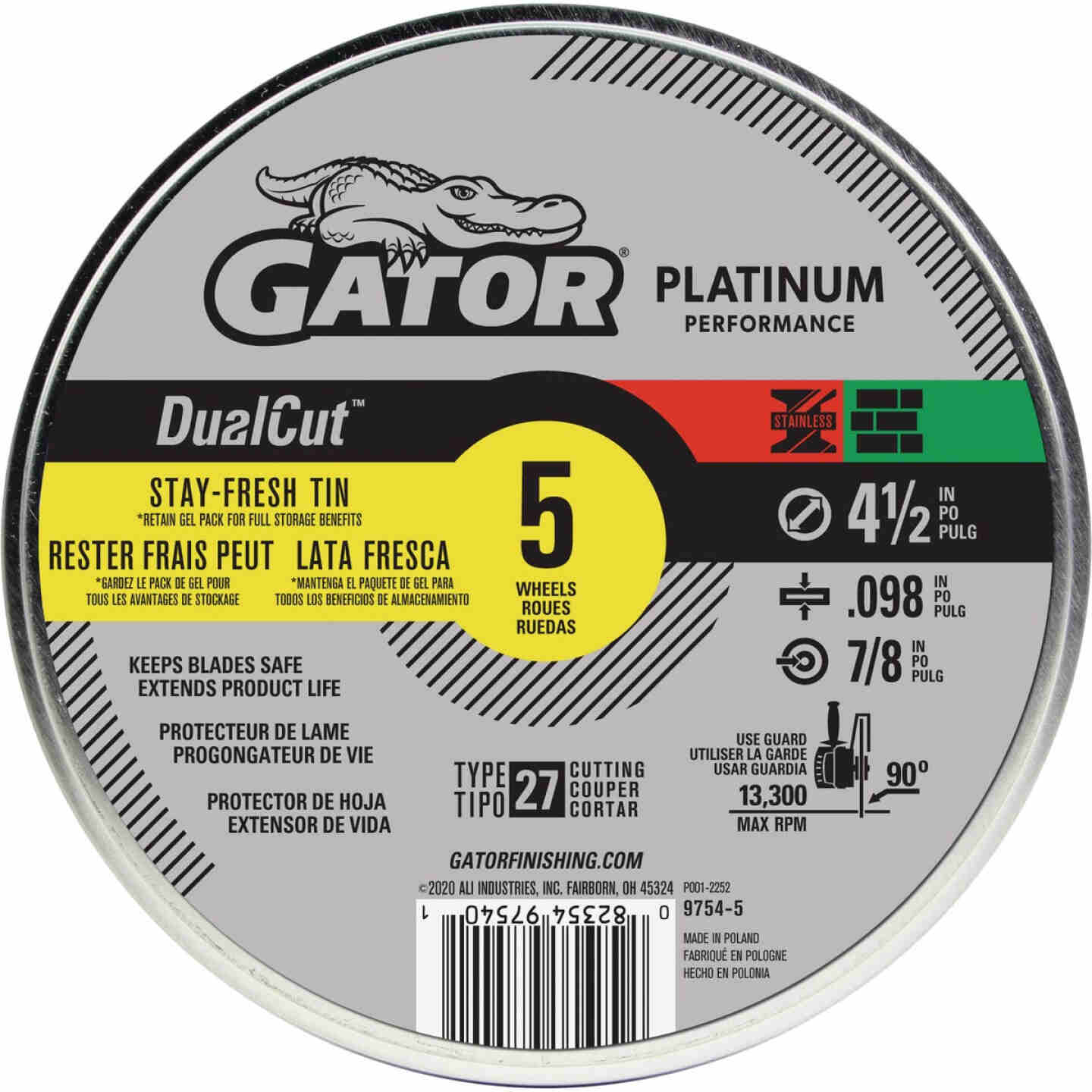 Gator Blade DualCut Type 27 4-1/2 In. x 0.098 In. x 7/8 In. Steel/Stainless/Wall Tile Cut-Off Wheel (5-Pack) Image 1