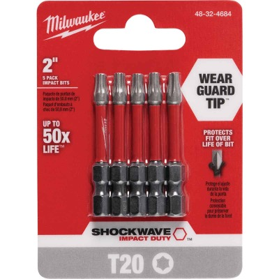 Milwaukee Shockwave T20 TORX 2 In. Power Impact Screwdriver Bit (5-Pack)
