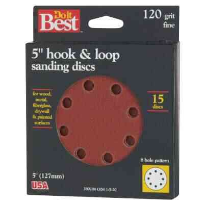 Do it Best 5 In. 120-Grit 8-Hole Pattern Vented Sanding Disc with Hook & Loop Backing (15-Pack)