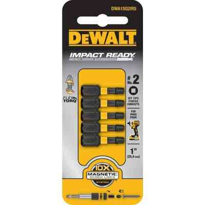 DeWalt FlexTorq 1 In. #2 Square Insert Impact Screwdriver Bit (5-Pack)