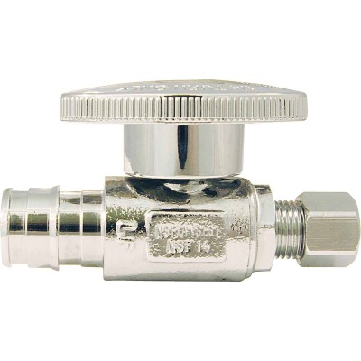 Conbraco 1/2 In. Barb x 1/4 In. Compression Chrome-Plated Brass Straight PEX Stop Valve, Type A