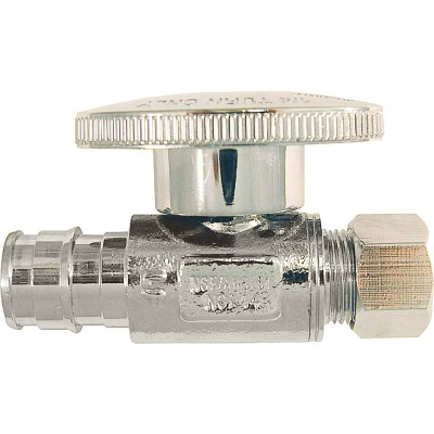 Conbraco 1/2 In. Barb x 3/8 In. Compression Chrome-Plated Brass Straight PEX Stop Valve, Type A