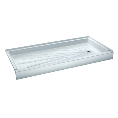 Mustee CareGiver ShowerTub 60 In. W x 30 In. D Right Drain Shower Floor & Base in White