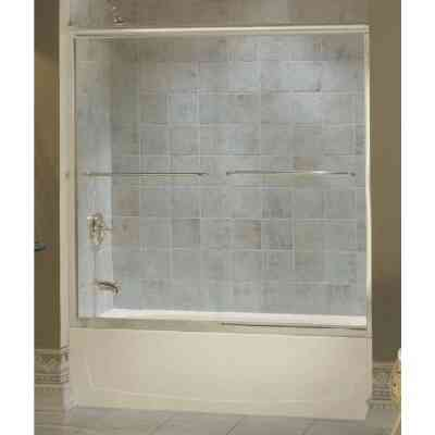 Sterling Finesse 59-5/8 In. W. X 55-3/4 In. H. Nickel Semi-Frameless Clear Glass Sliding Tub Door