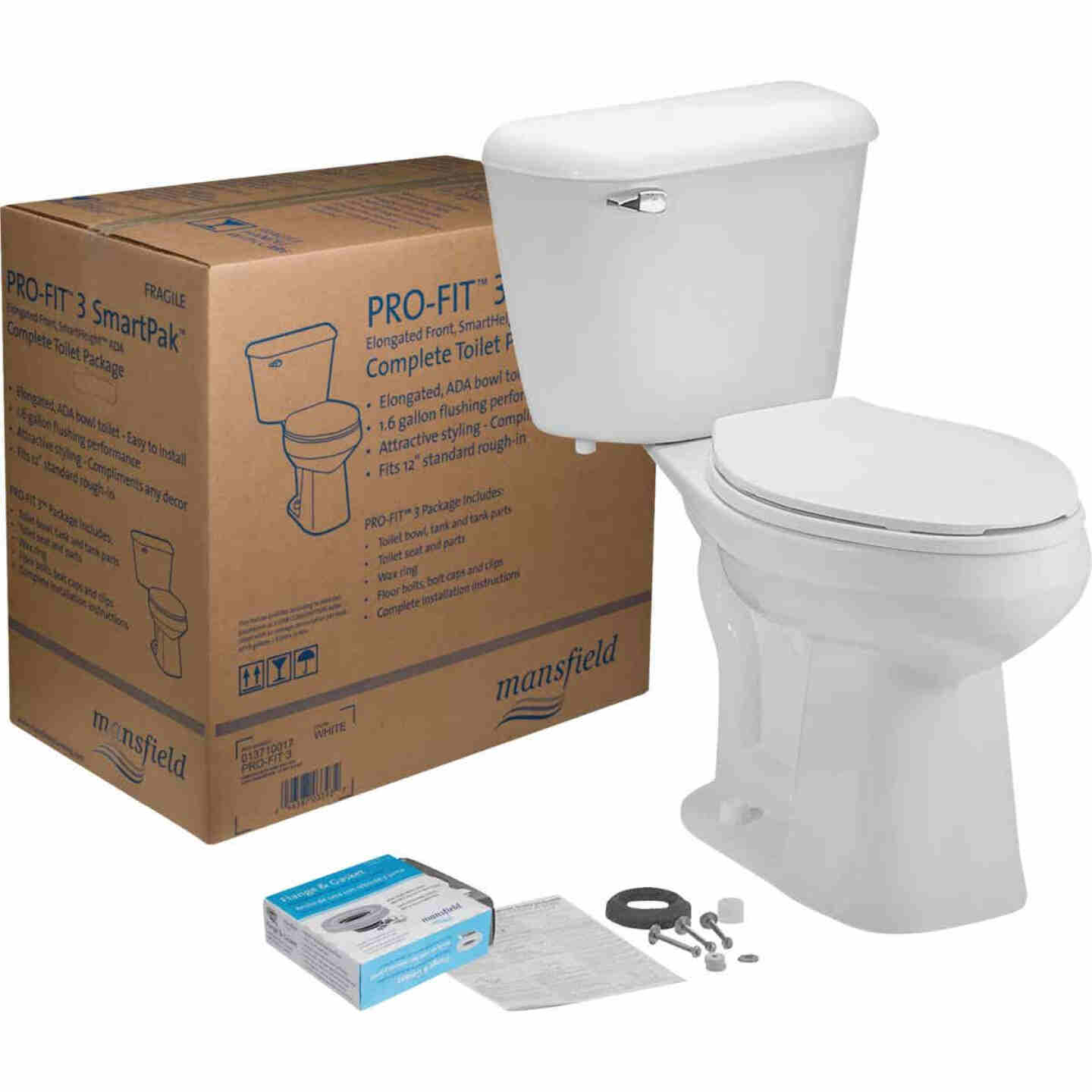 Mansfield Pro-Fit 3 SmartHeight White Elongated Bowl 1.6 GPF Complete Toilet Image 1