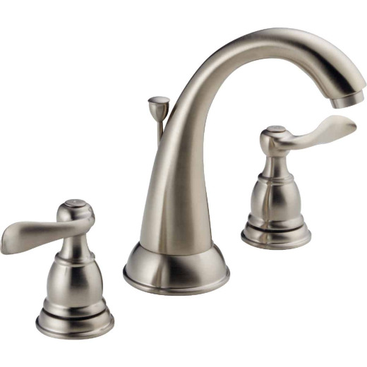 Delta Windmere Stainless 2-Handle Lever 6 In. to 16 In. Widespread Bathroom Faucet with Pop-Up