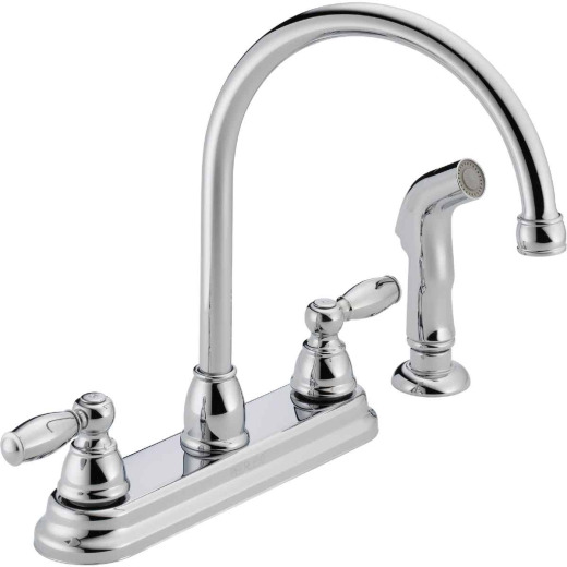 Peerless Dual Handle Lever Kitchen Faucet with Side Spray, Chrome