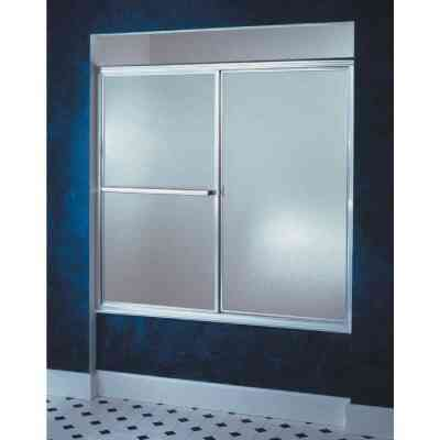 Sterling Deluxe Framed 59-3/8 In. W. X 56-1/4 In. H. Chrome Rain Glass Sliding Tub Door