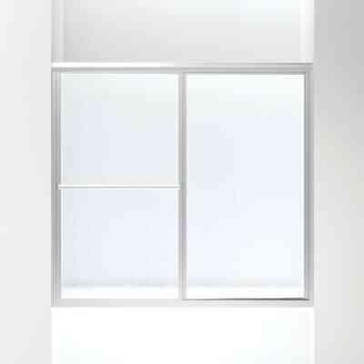 Sterling Deluxe Framed 59-3/8 In. W. X 56-1/4 In. H. Chrome Rain Glass Sliding Tub Door