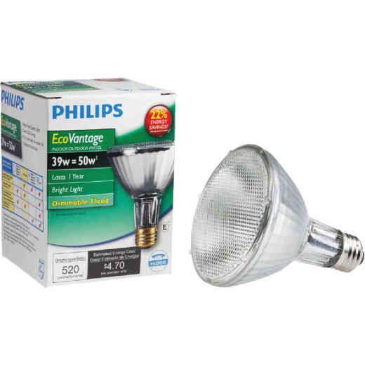 Philips EcoVantage 50W Equivalent Medium Base PAR30L Long Neck Halogen Floodlight Light Bulb