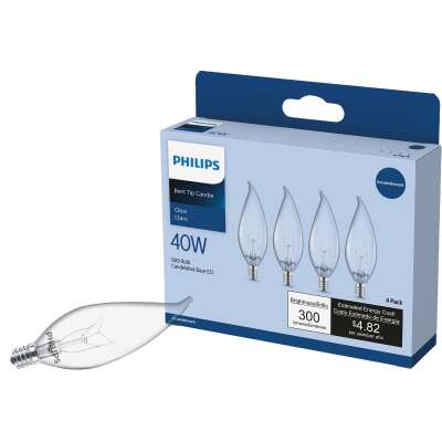 Philips DuraMax 40W Clear Candelabra BA9 Incandescent Bent Tip Light Bulb (4-Pack)