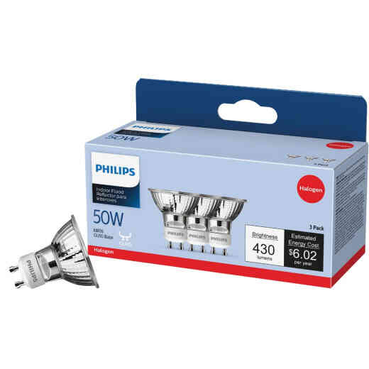 Philips 60W Equivalent Clear GU10 Base MR16 Halogen Floodlight Light Bulb (3-Pack)