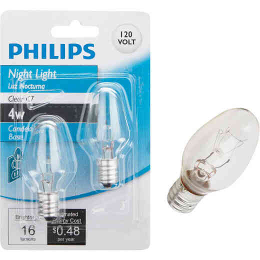 Philips 4W Clear Candelabra C7 Incandescent Night Light Bulb (2-Pack)