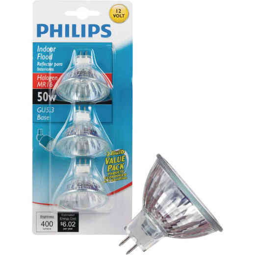 Philips 60W Equivalent Clear GU5.3 Base MR16 Halogen Floodlight Light Bulb (3-Pack)
