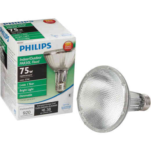 Philips EcoVantage 75W Equivalent Medium Base PAR30L Long Neck Halogen Floodlight Light Bulb