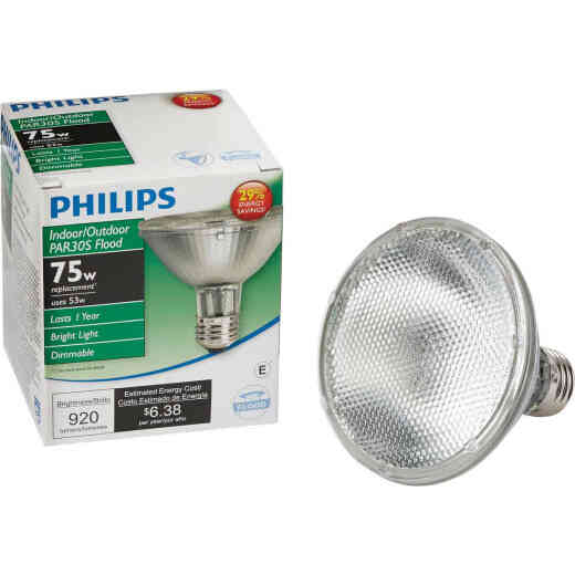 Philips EcoVantage 75W Equivalent Medium Base PAR30S Short Neck Halogen Floodlight Light Bulb