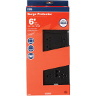 Do it Best 10-Outlet 3000J Black Surge Protector Strip with Phone Line Protection & 6 Ft. Cord Image 1