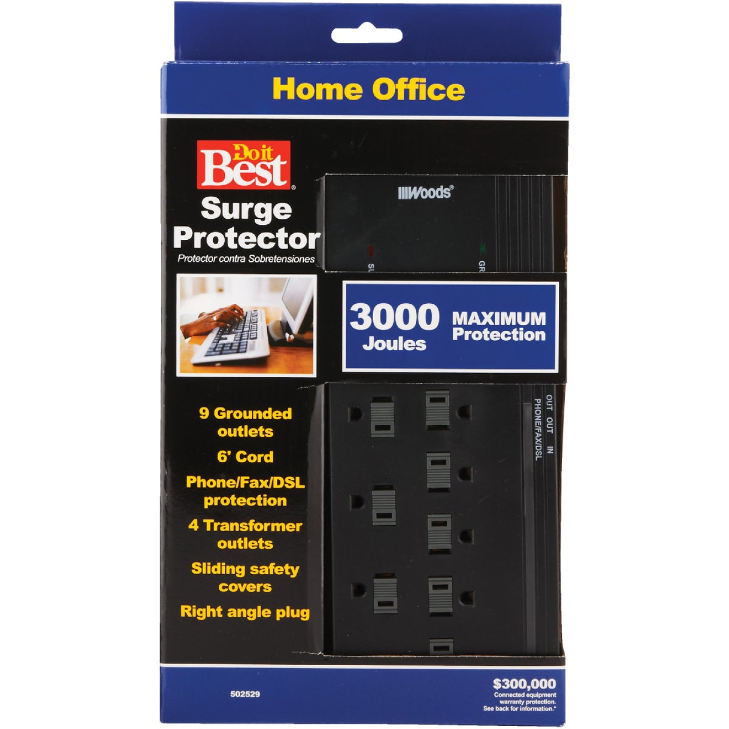 Do it Best 10-Outlet 3000J Black Surge Protector Strip with Phone Line Protection & 6 Ft. Cord Image 3