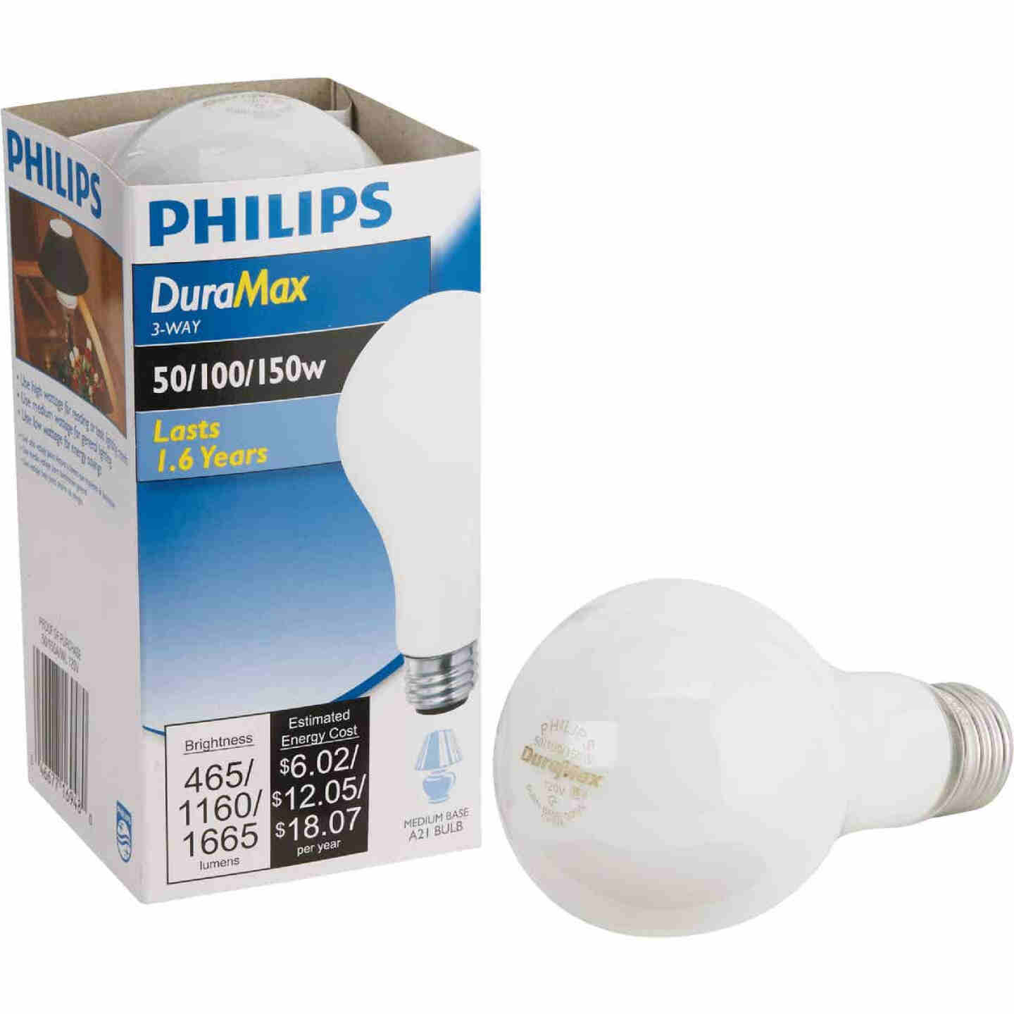 Philips Duramax 50/100/150W Frosted Soft White Medium Base A21 Incandescent 3-Way Light Bulb Image 1