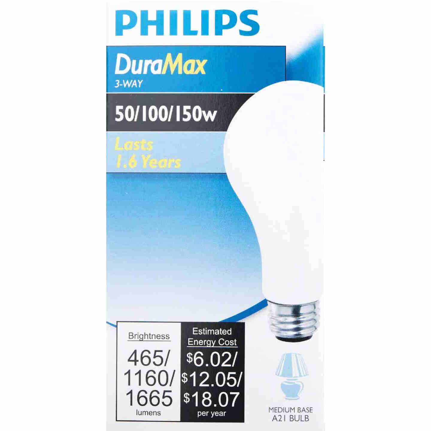 Philips Duramax 50/100/150W Frosted Soft White Medium Base A21 Incandescent 3-Way Light Bulb Image 2