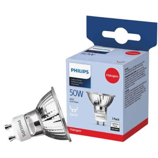 Philips 60W Equivalent Clear GU10 Base MR16 Halogen Floodlight Light Bulb